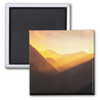 Mountain Silhouettes Sunset Beautiful Nature Magnet