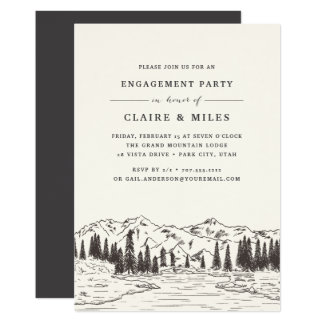 Mountain Sketch Engagement Party Invitation