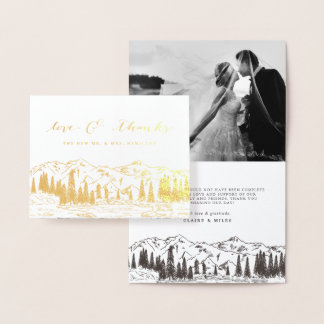 Mountain Sketch Gold Foil Thank You Cards