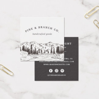 Mountain Sketch Logo Square Business Card