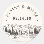 Mountain Sketch | Personalized Wedding Classic Round Sticker