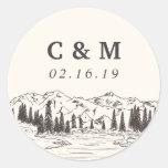 Mountain Sketch | Personalized Wedding Monogram Classic Round Sticker