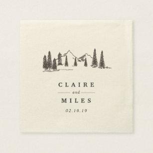 Mountain Sketch | Personalized Wedding Paper Napkin