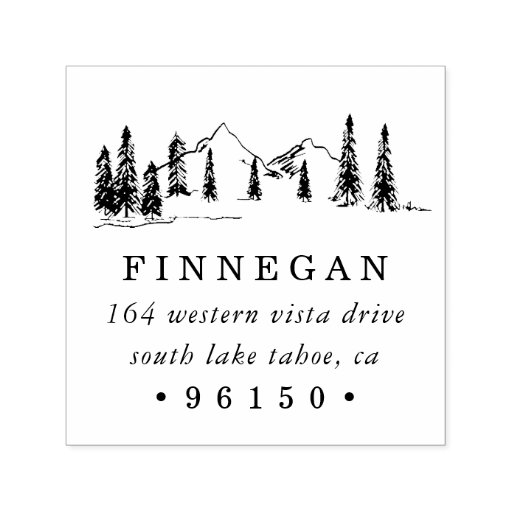 Mountain Sketch Return Address Self-inking Stamp