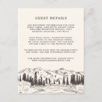 Mountain Sketch Wedding Guest Details Card