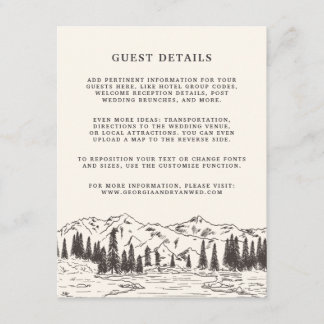 Mountain Sketch Wedding Guest Details Card