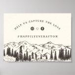 Mountain Sketch Wedding Hashtag Sign