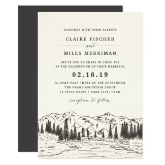 Mountain Sketch Wedding Invitation