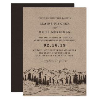 Mountain Sketch Wedding Invitation | Kraft