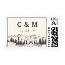 Mountain Sketch Wedding Monogram Postage