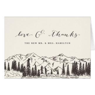 Mountain Sketch Wedding Thank You Card