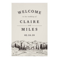 Mountain Sketch Wedding Welcome Poster
