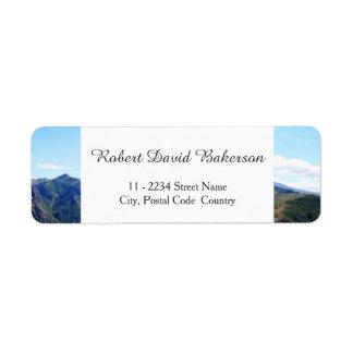 Mountain, sky landscape photography label