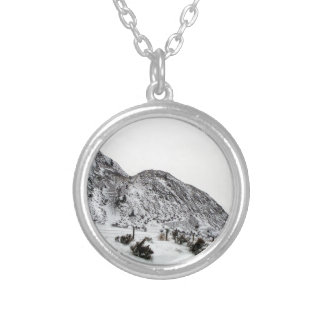 Mountain Snows in Canada Round Pendant Necklace