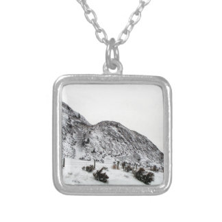 Mountain Snows in Canada Square Pendant Necklace