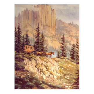 MOUNTAIN STAGECOACH by SHARON SHARPE Postcard