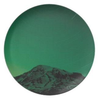 Mountain Star Trails Rainier Plate