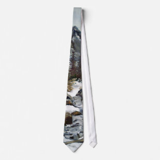 Mountain Stream Impressionist Oil Painting Tie