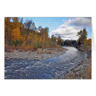 Mountain stream in forest print greeting card