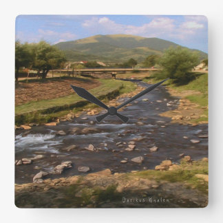 Mountain Stream in the Carpathians Square Wall Clock