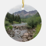 Mountain Stream - Maroon Bells Double-Sided Ceramic Round Christmas Ornament