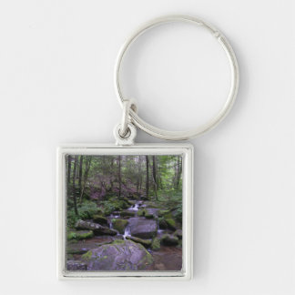 Mountain Stream Square Keychain