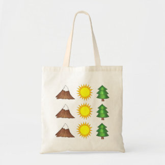 Mountain Sun Trees Woods Camping Climbing Tote