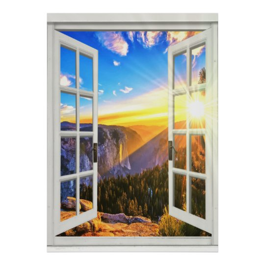 Mountain sunrise view trompe loeil faux window poster