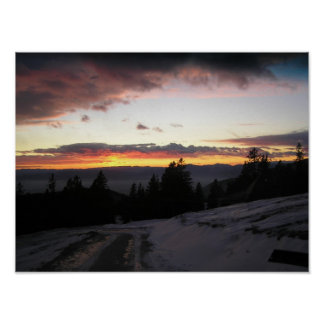 Mountain sunset in winter poster