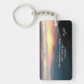 Mountain Sunset: Mtns calling Muir Template Double-Sided Rectangular Acrylic Keychain