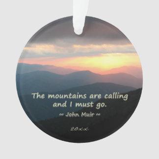 Mountain Sunset: Mtns calling Muir Template Ornament