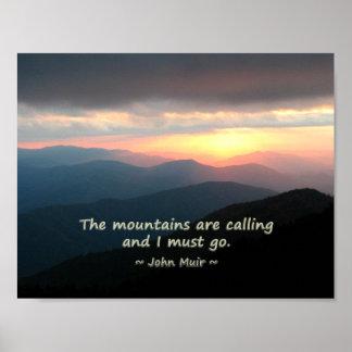 Mountain Sunset: Mtns calling Muir Template Poster