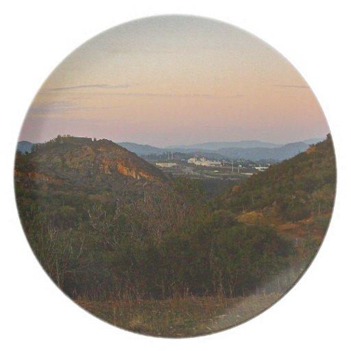 mountain sunset plate