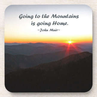 Mountain Sunset Star Shaped / John Muir quote Coaster