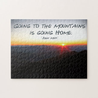 Mountain Sunset Star Shaped / John Muir quote Jigsaw Puzzle