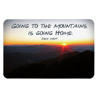 Mountain Sunset Star Shaped / John Muir quote Magnet