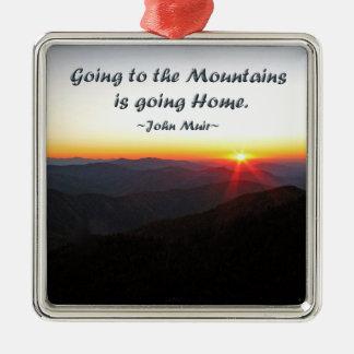 Mountain Sunset Star Shaped / John Muir quote Metal Ornament