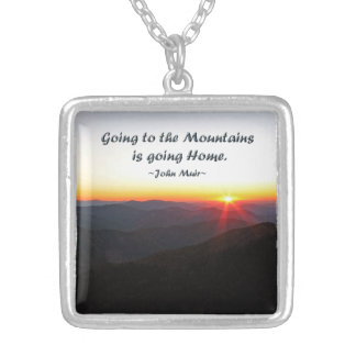 Mountain Sunset Star Shaped / John Muir quote Personalized Necklace