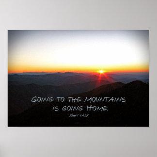 Mountain Sunset Star Shaped / John Muir quote Poster