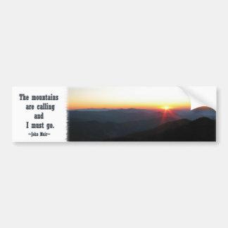 Mountain Sunset w/shimmering rays / J Muir quote Bumper Sticker