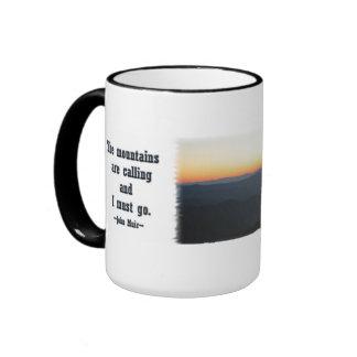 Mountain Sunset w/shimmering rays / J Muir Ringer Coffee Mug