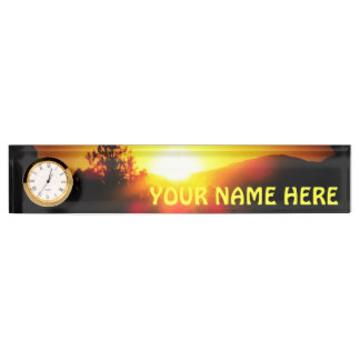 Mountain Sunset with your name Desk Name Plate