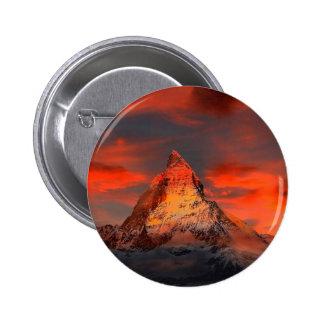 Mountain Switzerland Matterhorn Zermatt Red Sky Button