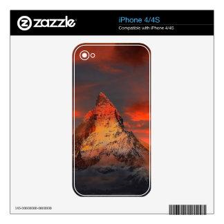 Mountain Switzerland Matterhorn Zermatt Red Sky iPhone 4 Skins