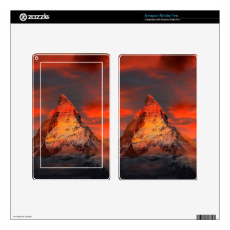 Mountain Switzerland Matterhorn Zermatt Red Sky Kindle Fire Skin