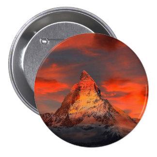 Mountain Switzerland Matterhorn Zermatt Red Sky Pinback Button