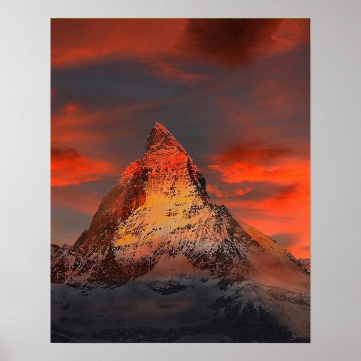 Mountain Switzerland Matterhorn Zermatt Red Sky Poster Zazzle Com