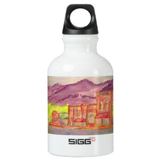 mountain town art aluminum water bottle