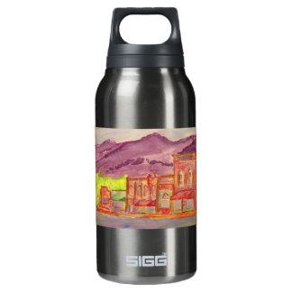 mountain town art insulated water bottle