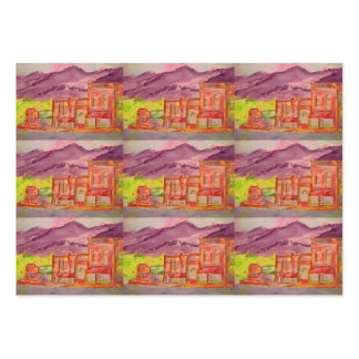 mountain town watercolour sketch large business cards (Pack of 100)